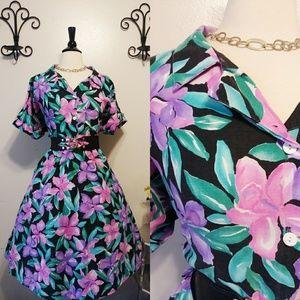 Vintage Black and Pink Floral Shirt Dress